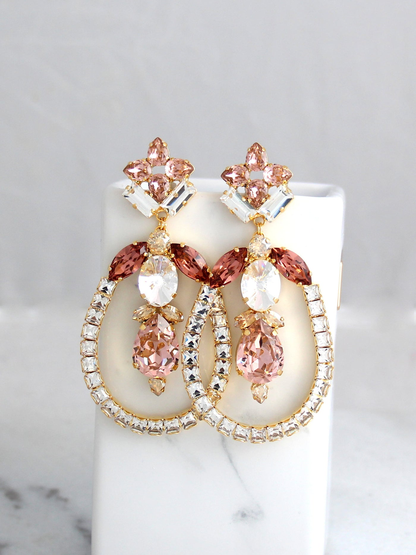 Wendy Statement Blush Pink Crystal Swarovski Chandelier Earrings
