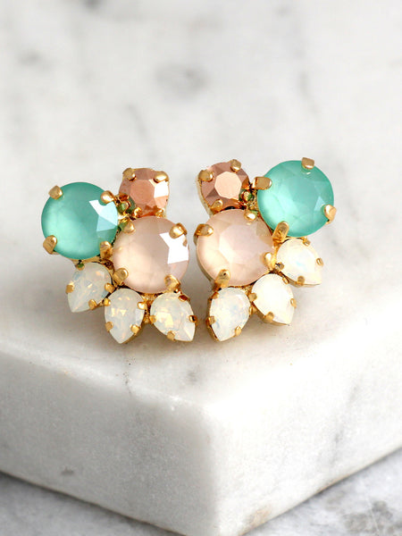 Abby Ivory Mint Crystal Swarovski Cluster Earrings