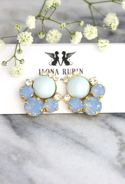 June Blue Opal Pearl Crystal Swarovski Cluster Earrings