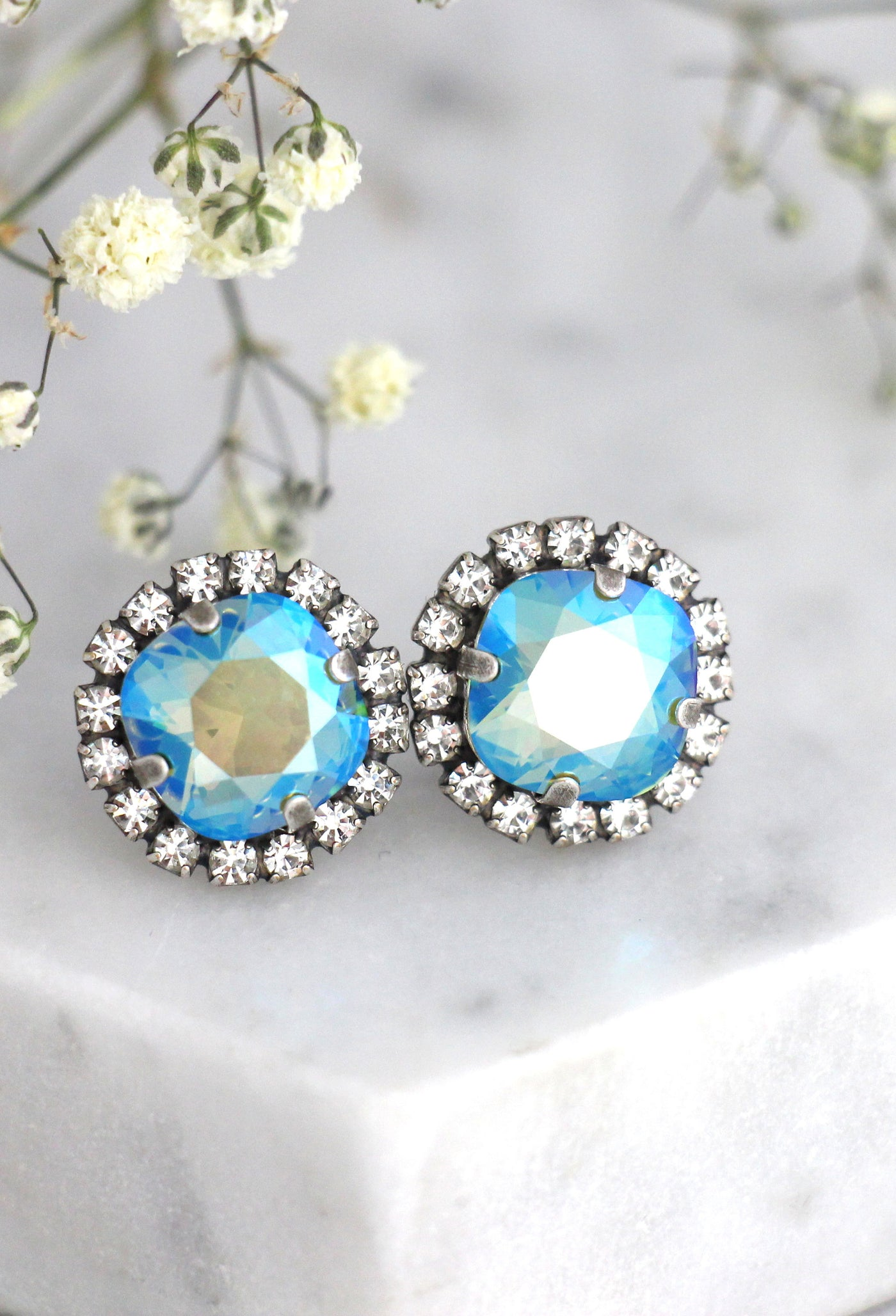 Cloe Icy Blue Crystal Swarovski Bridal Stud Earrings