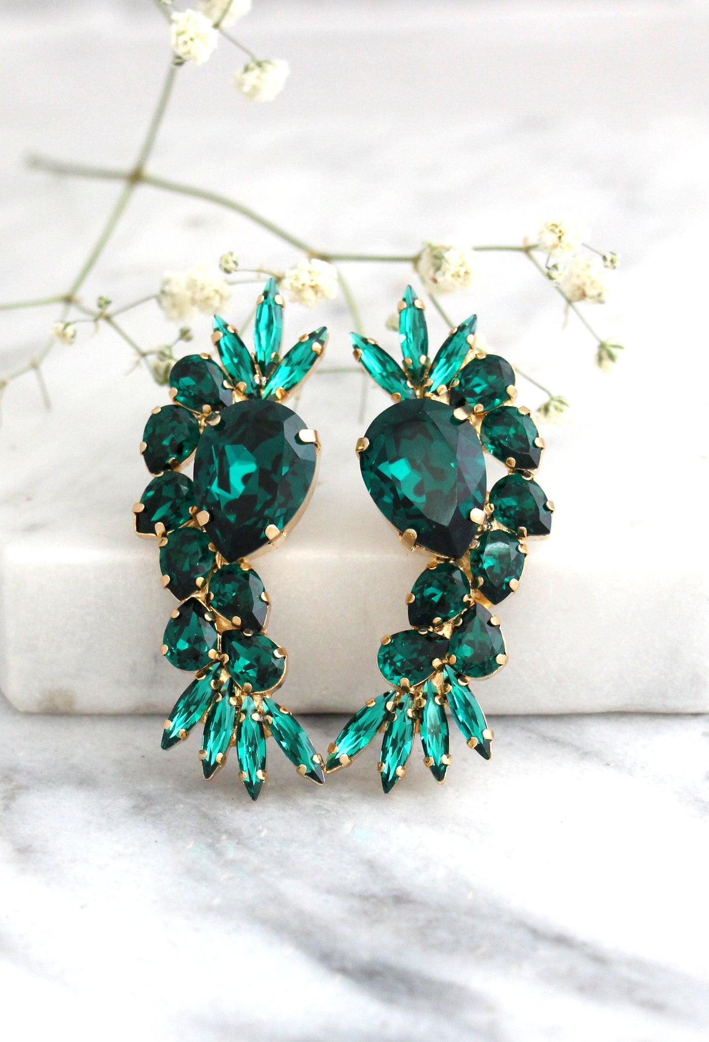 Molly Emerald Crystal Swarovski Cluster Earrings