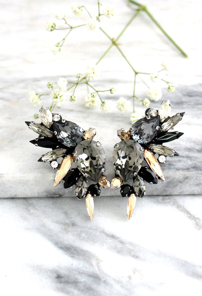 Andrea Dark Grey Crystal Swarovski Statement Climbing Earrings
