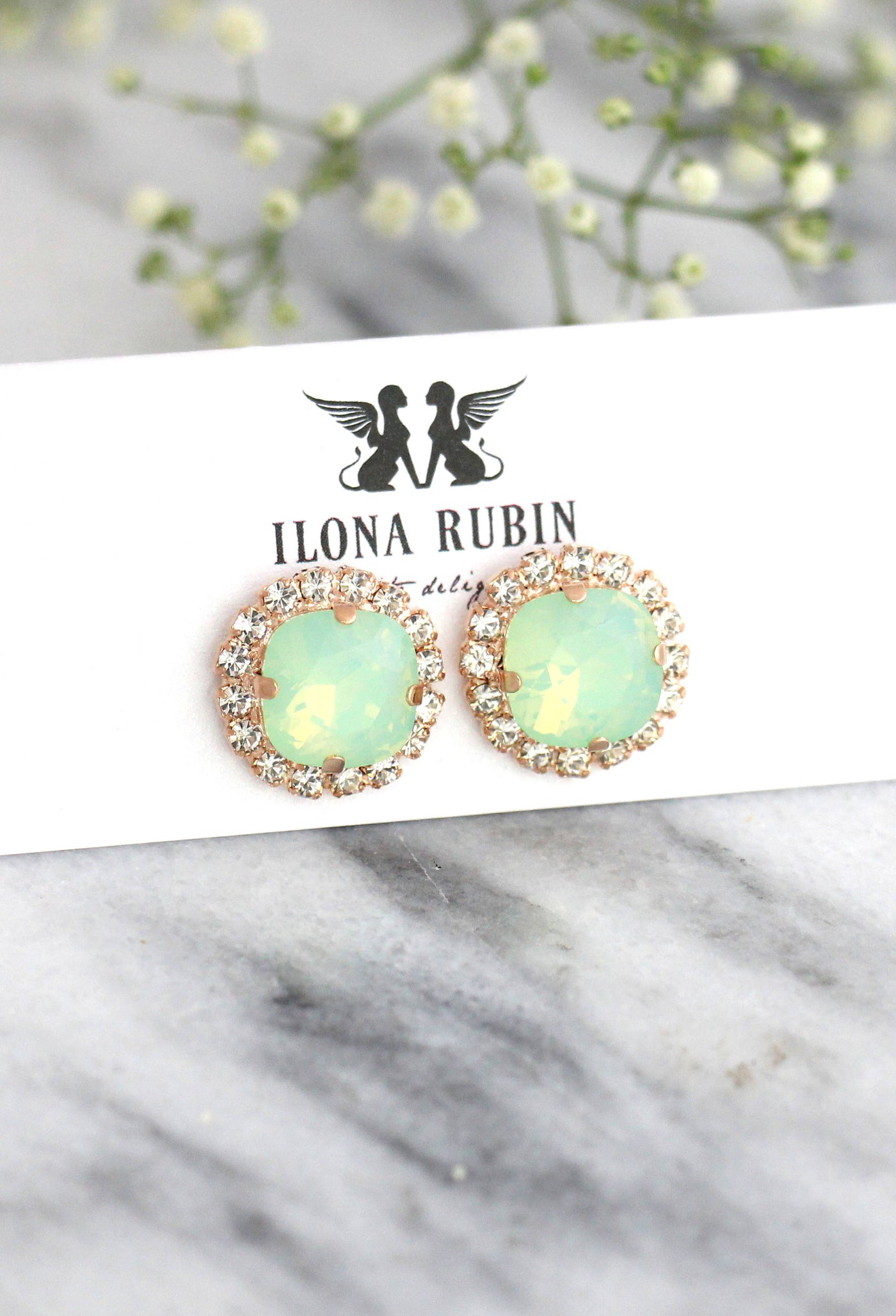 Cloe Mint Opal Crystal Swarovski Stud Earrings