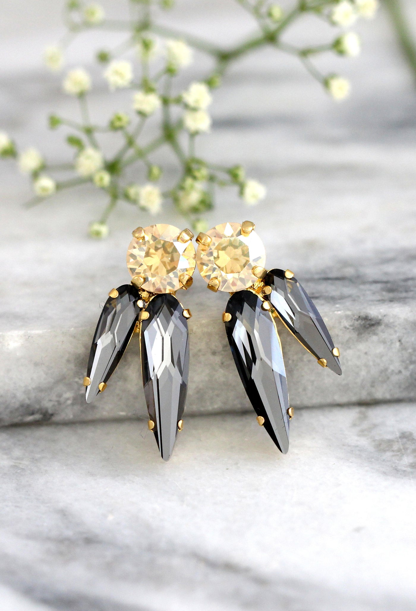 Julia Grey Champagne Crystal Swarovski Cluster Earrings