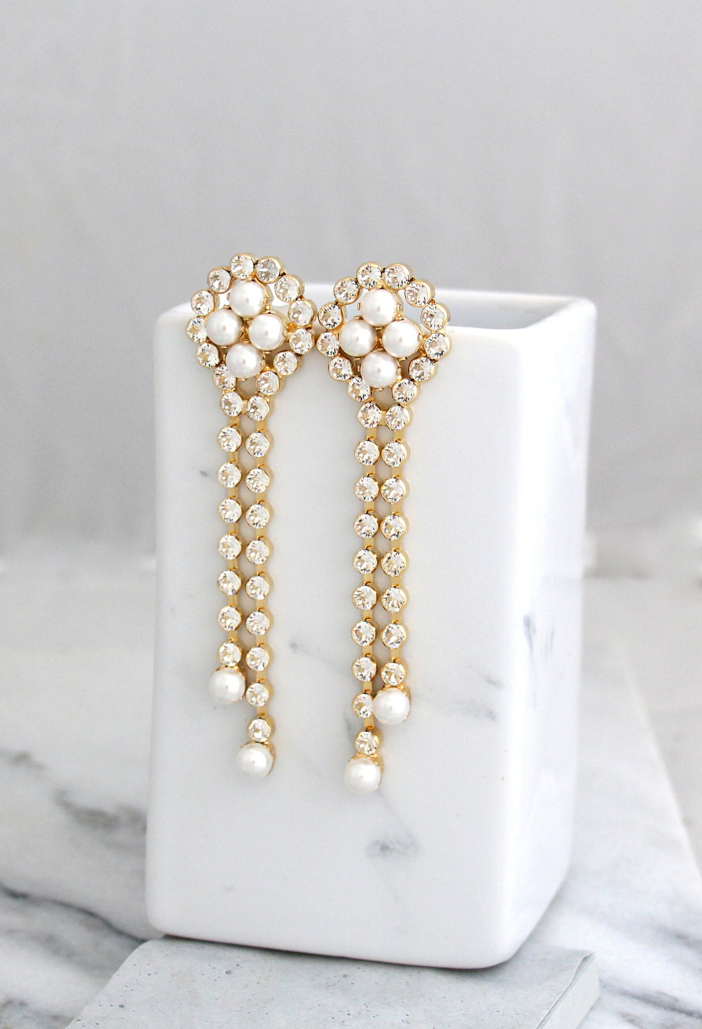 Olla White Pearl Crystal Swarovski Chandelier Earrings