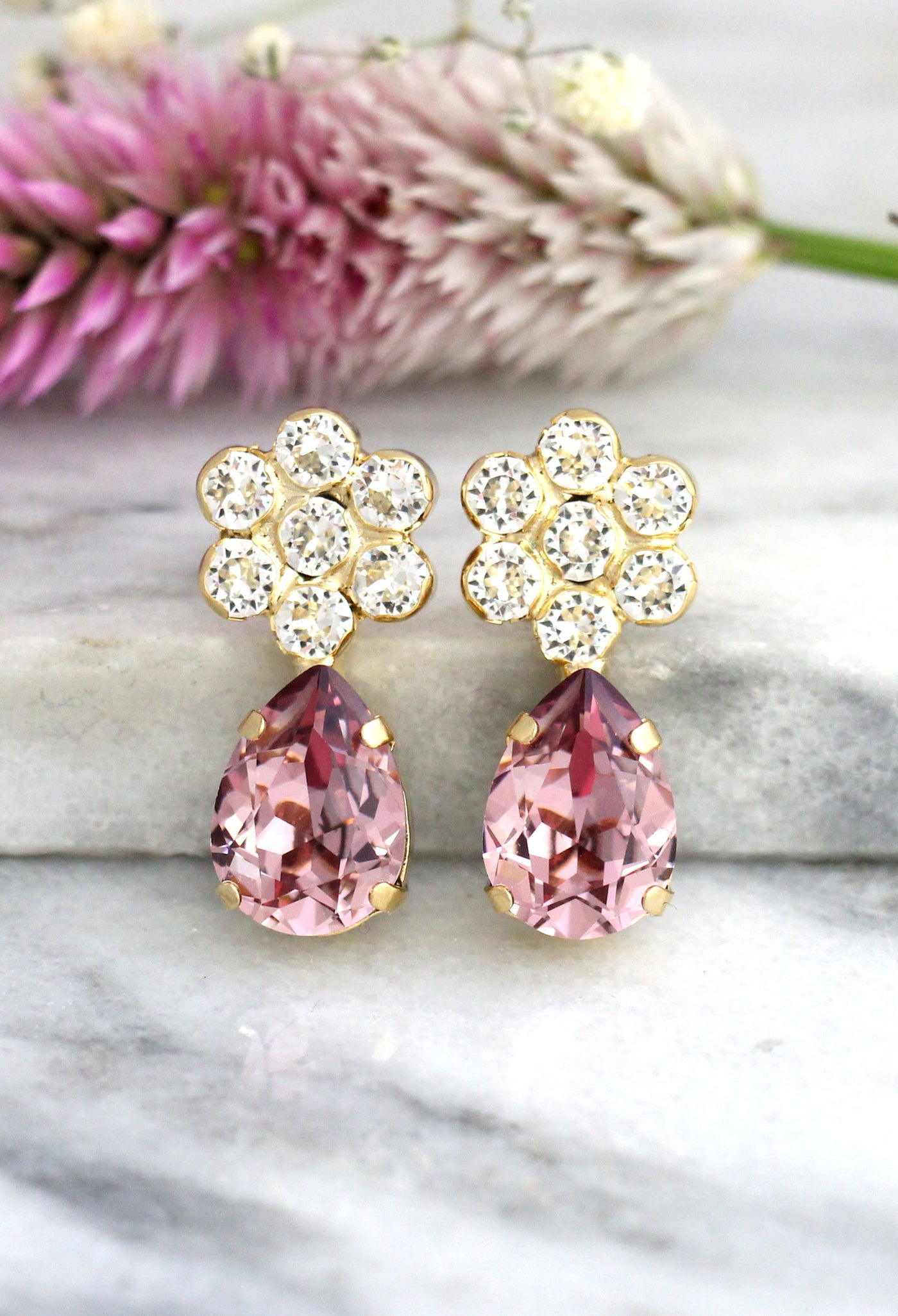 Flower Drop Antique Pink Crystal Swarovski Cluster Earrings