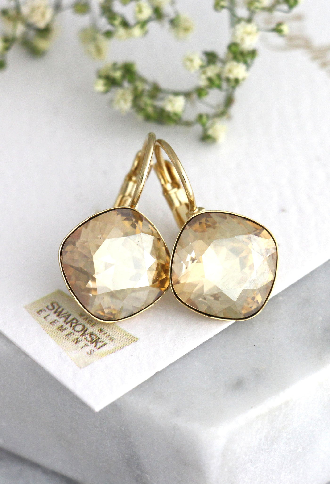 Cloe Elegant Champagne Crystal Swarovski Dangle Drop Earrings