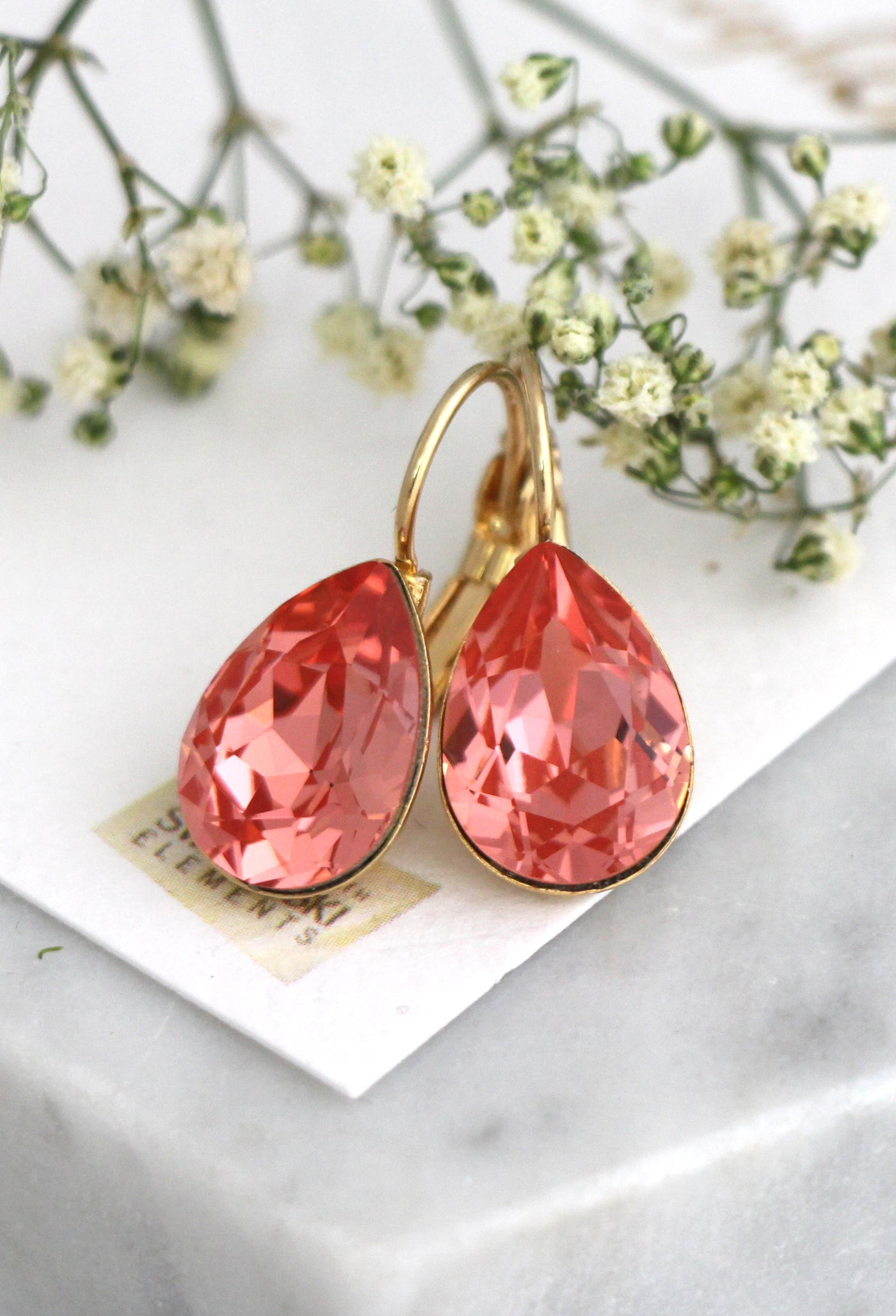 Emma Classic Coral Crystal Swarovski Dangle Drop Earrings