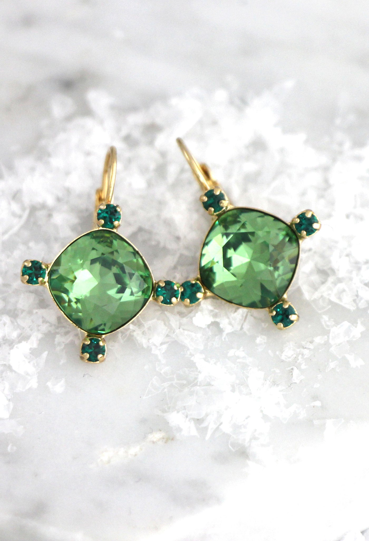 Liri Green Emerald Crystal Swarovski Dangle Drop Earrings