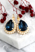 Emma Blue Navy White Opal Crystal Swarovski Dangel Drop Earrings