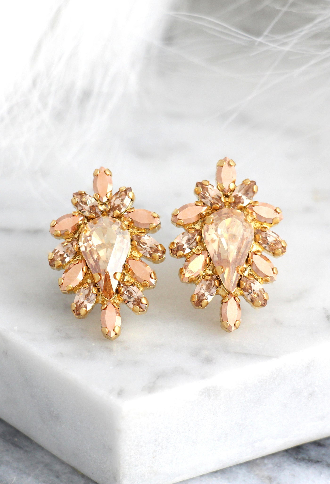 Aurora Champagne Crystal Swarovski Cluster Earrings