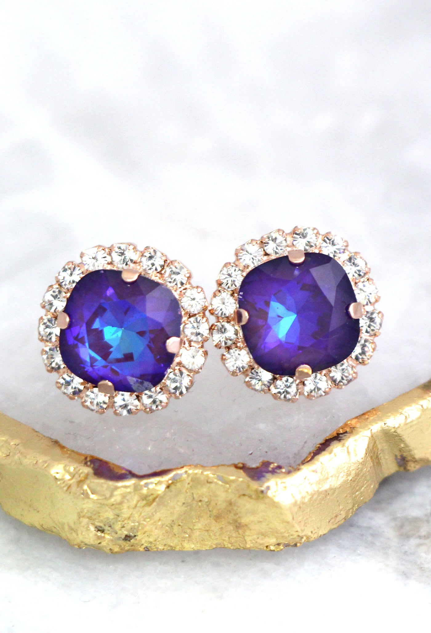 Cloe Ultra Violet Crystal Swarovski Stud Earrings