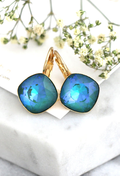 Cloe Elegant Emerald Blue Crystal Swarovski Dangel Drop Earrings