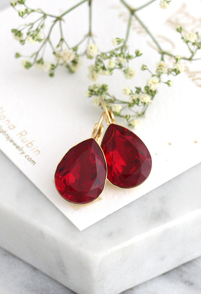 Emma Fine Ruby Dangle Drop Earrings