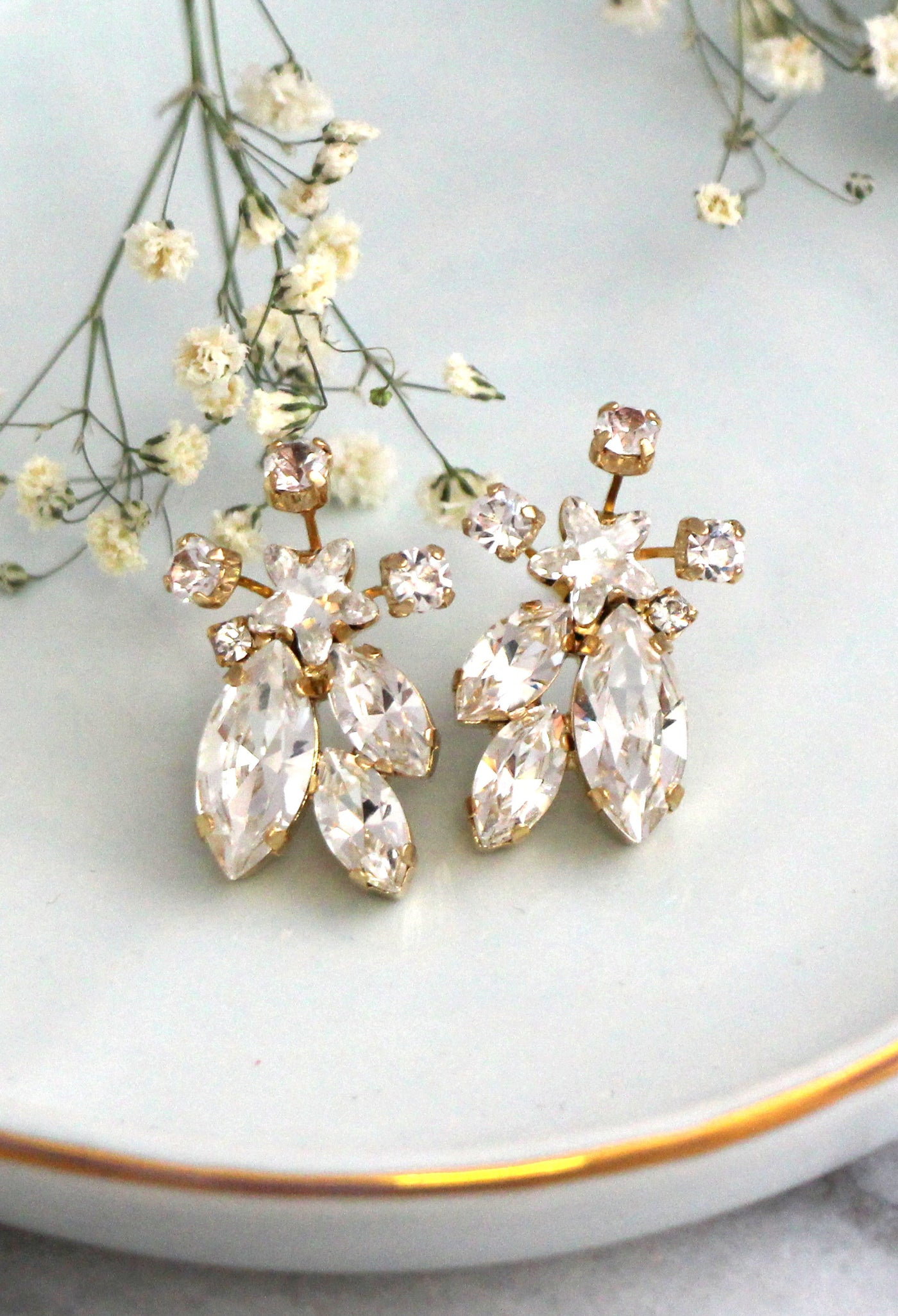 Star Bloom Clear Crystal Swarovski Cluster Earrings
