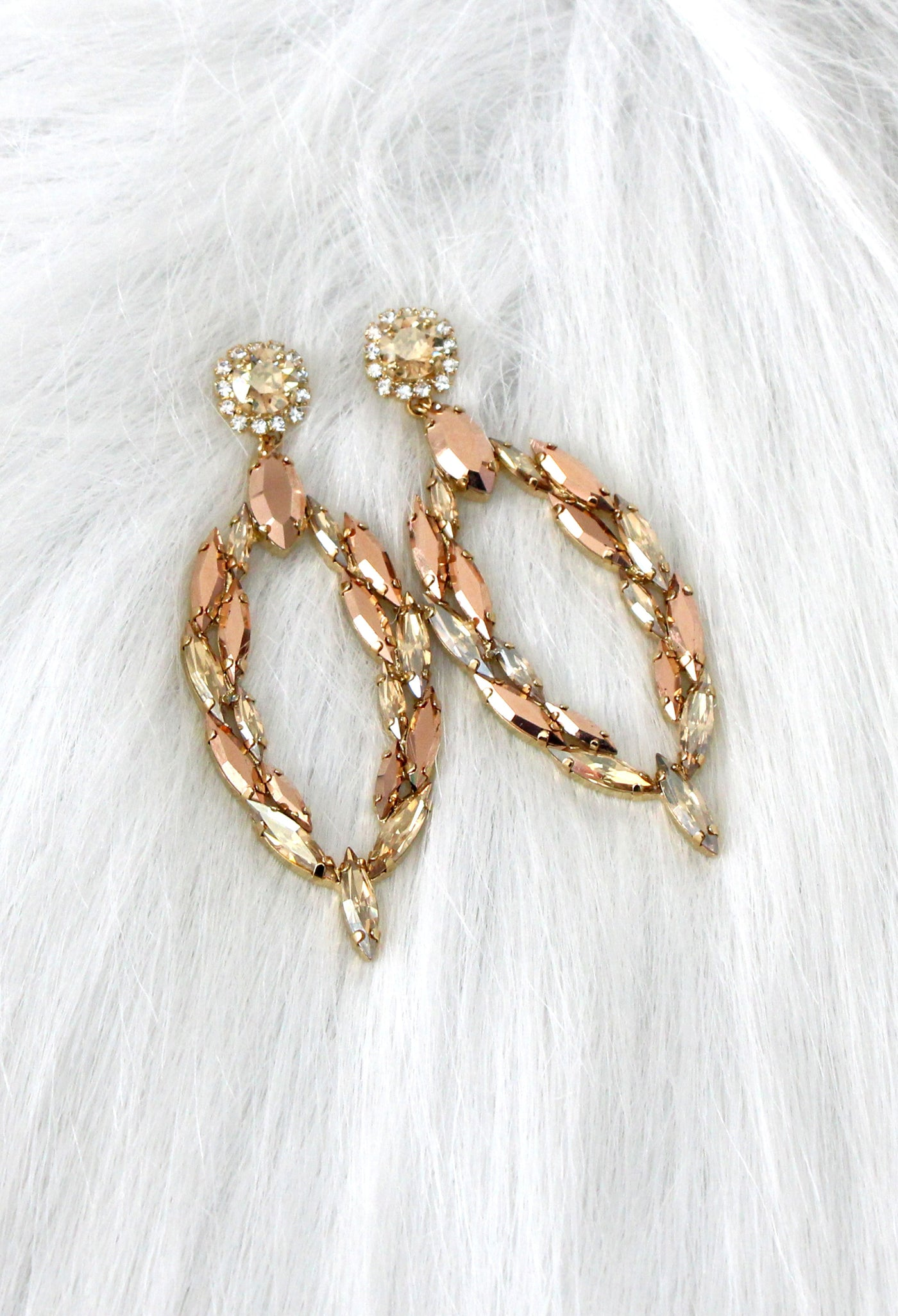 Mady Champagne Crystal Swarovski Chandelier Earrings