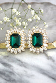 Darla Emerald Crystal Swarovski Cluster Earrings