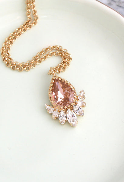 Donna Blush Pink Morganite Crystal Swarovski Necklace