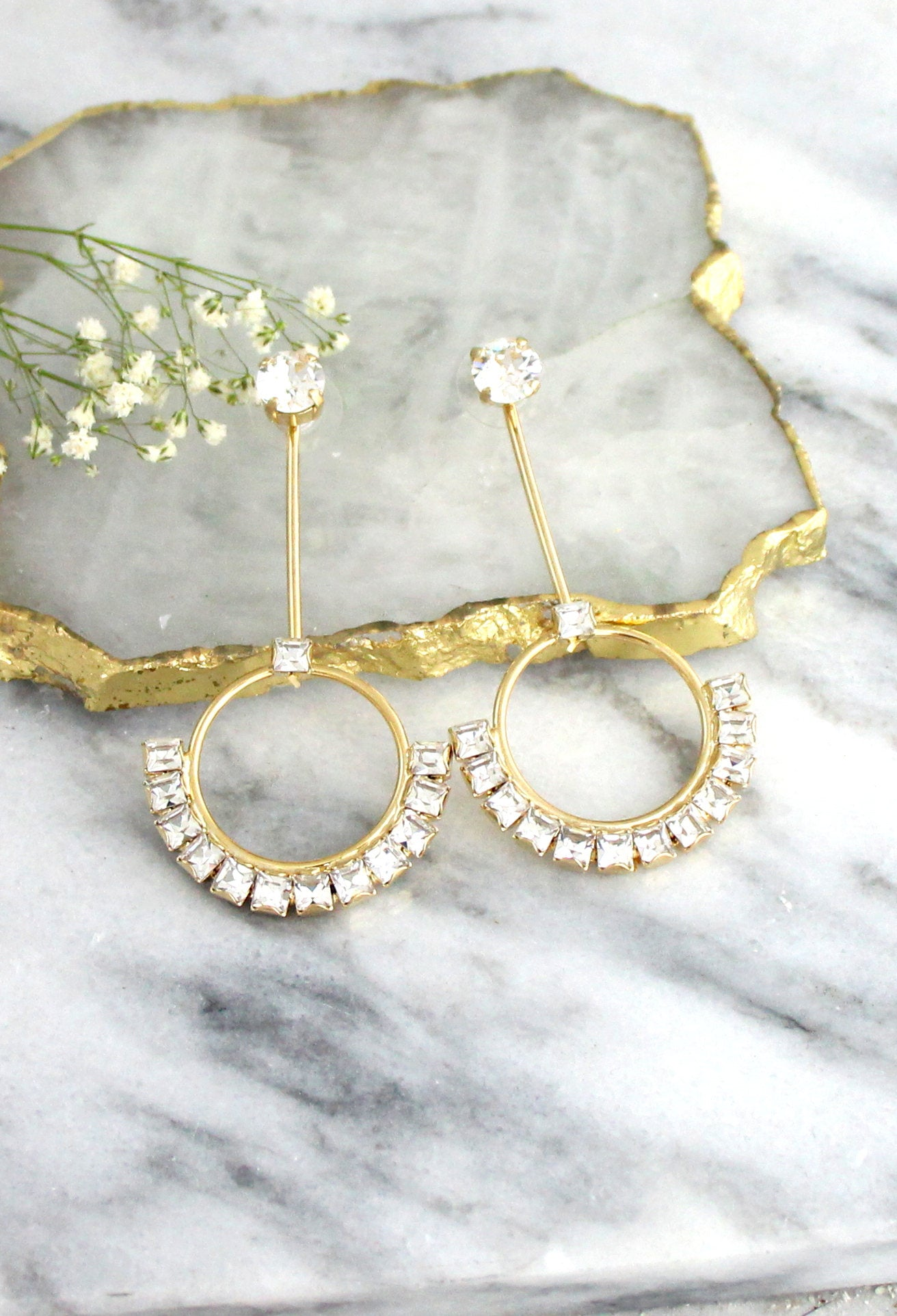 Jolene Clear Crystal Swarovski Ear jacket Earrings