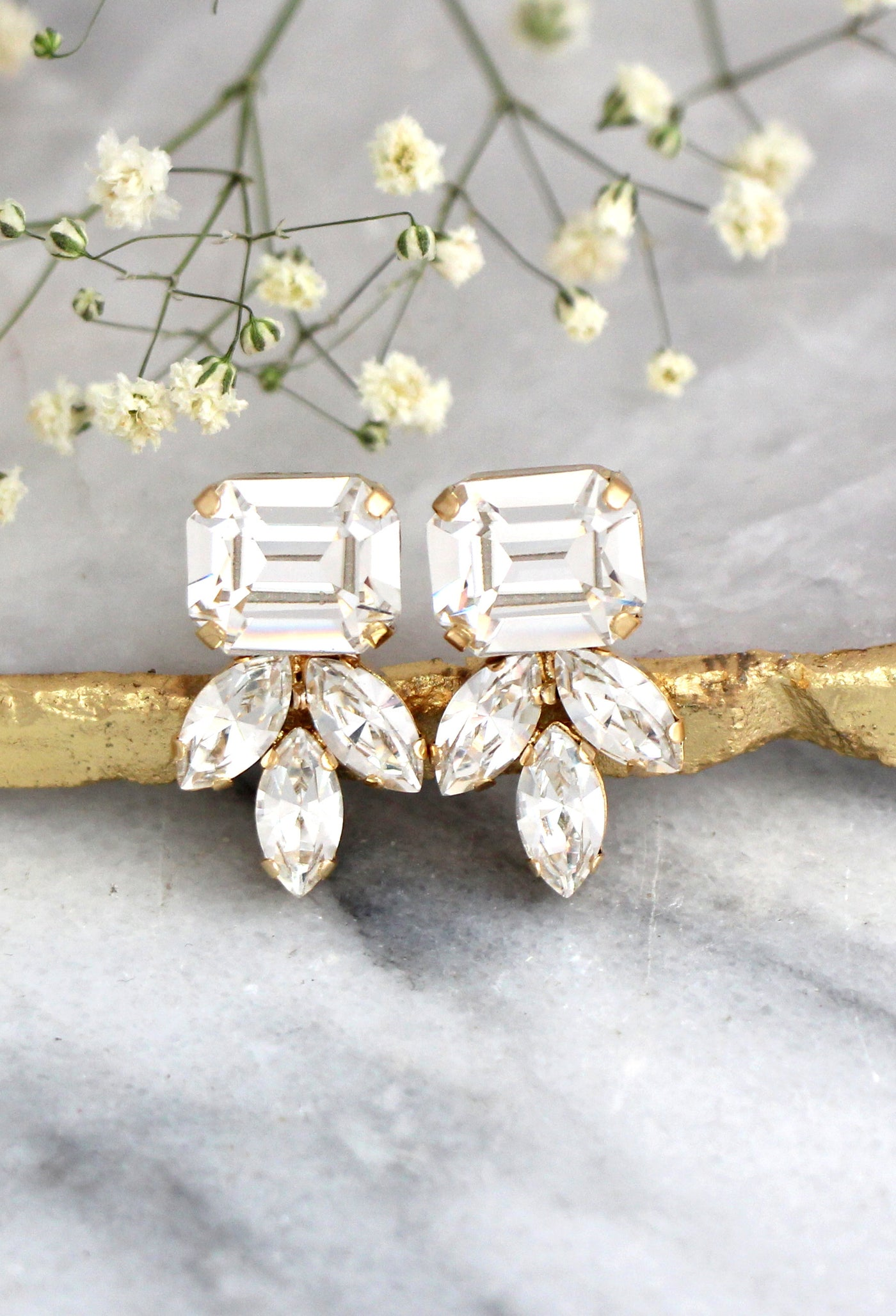 Iris Clear Crystal Swarovski Cluster Earrings