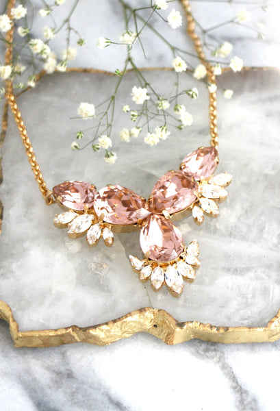 Donna 3 Elements Blush Pink Clear Crystal Swarovski Necklace