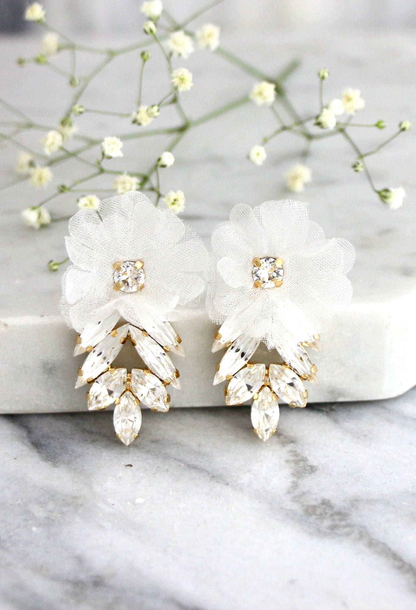 Spring Flower Clear Crystal Swarovski Cluster Earrings