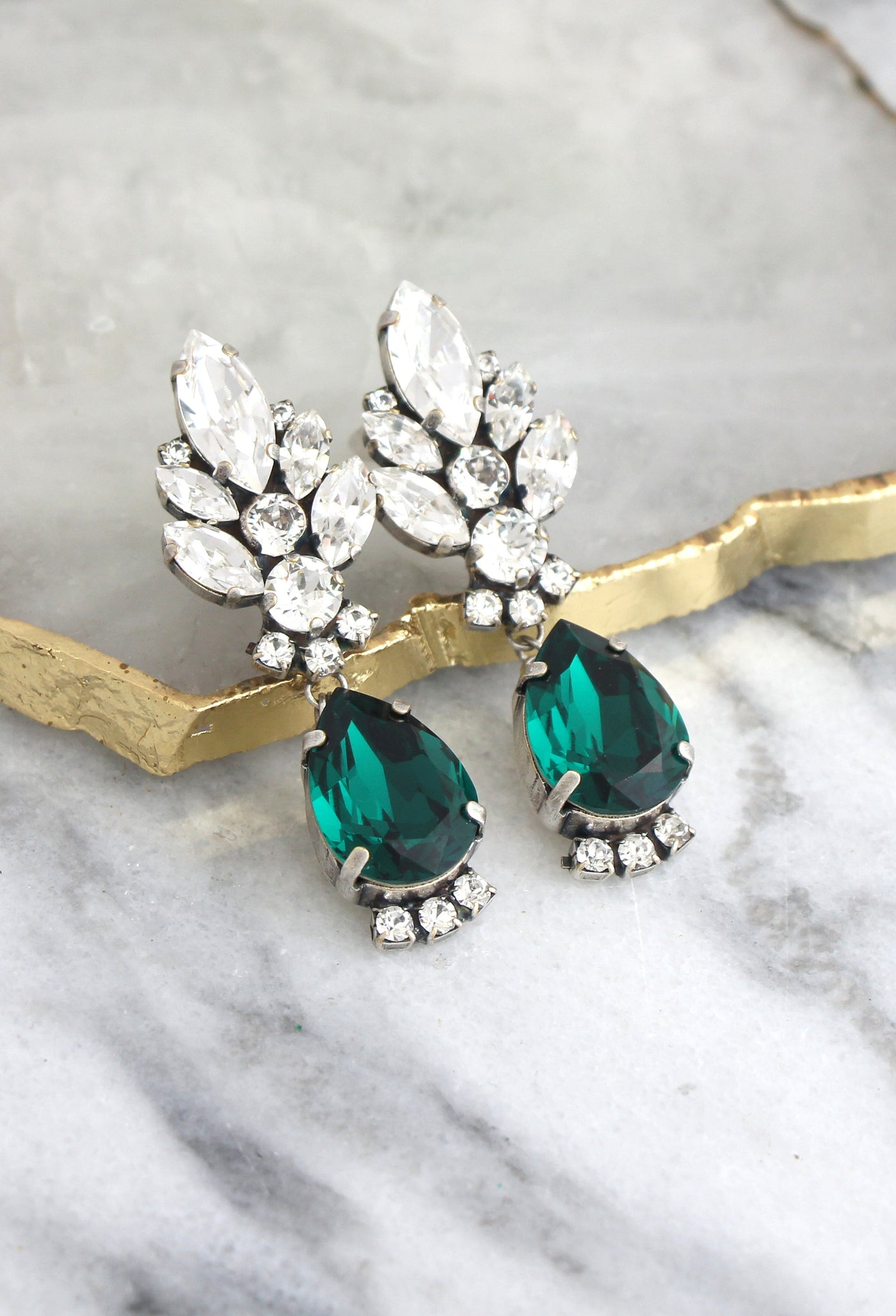 Diana Emerald Crystal Swarovski Chandelier Earrings