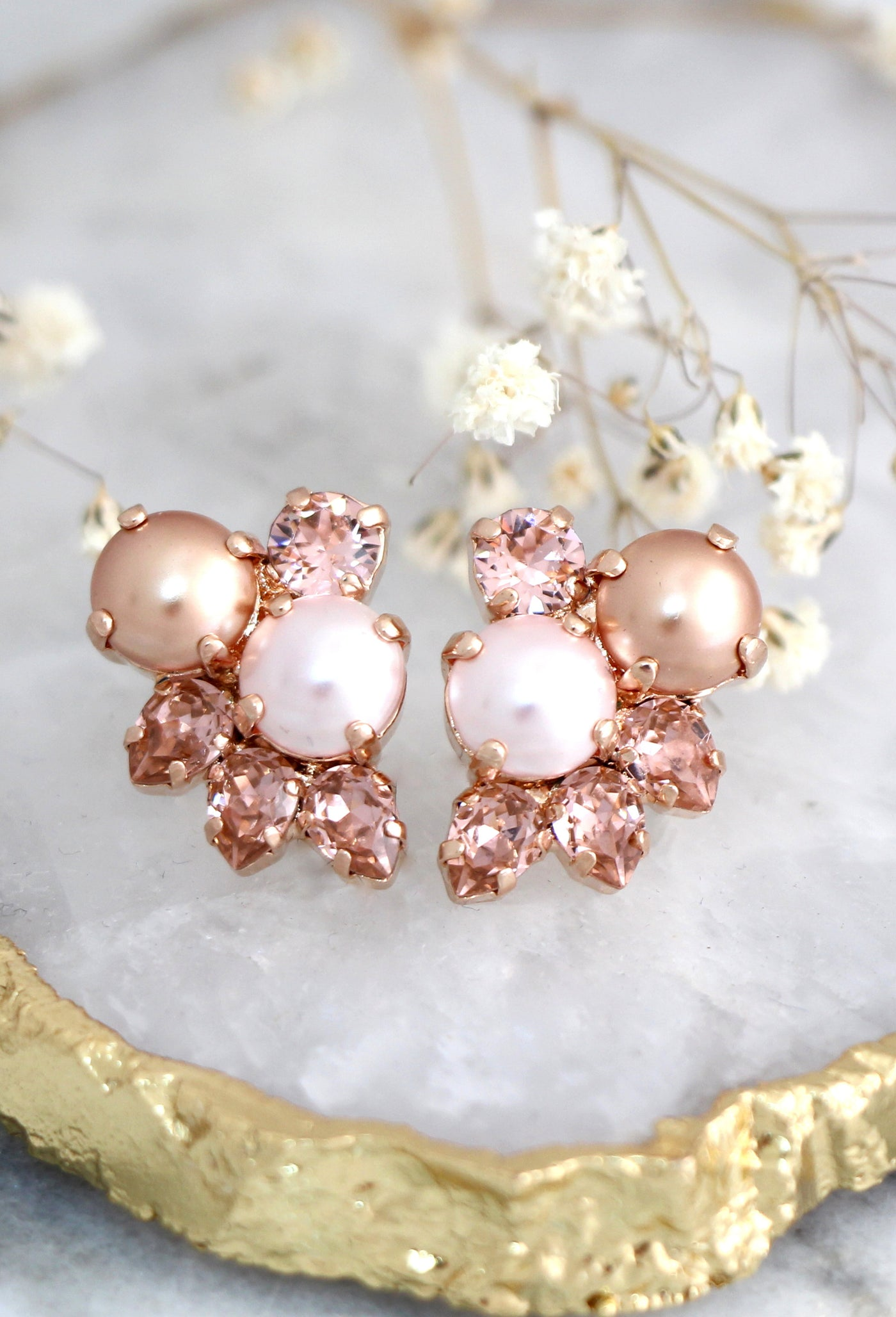 Abby Blush Pearl Rose Gold Crystal Swarovski Cluster Earrings