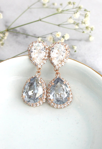 Emma Dusty Blue Crystal Swarovski Chandelier Earrings