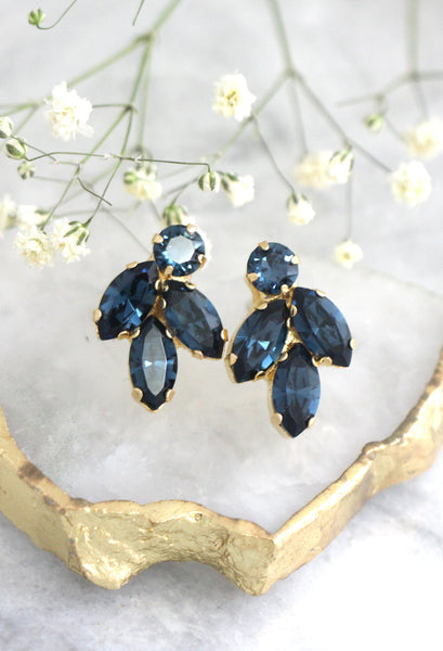Clip On Earrings, Bridal Blue navy Clip On Earrings, Dark Blue Clip On Earrings, Blue Navy Crystal Swarovski Earrings, Bridesmaids Earrings