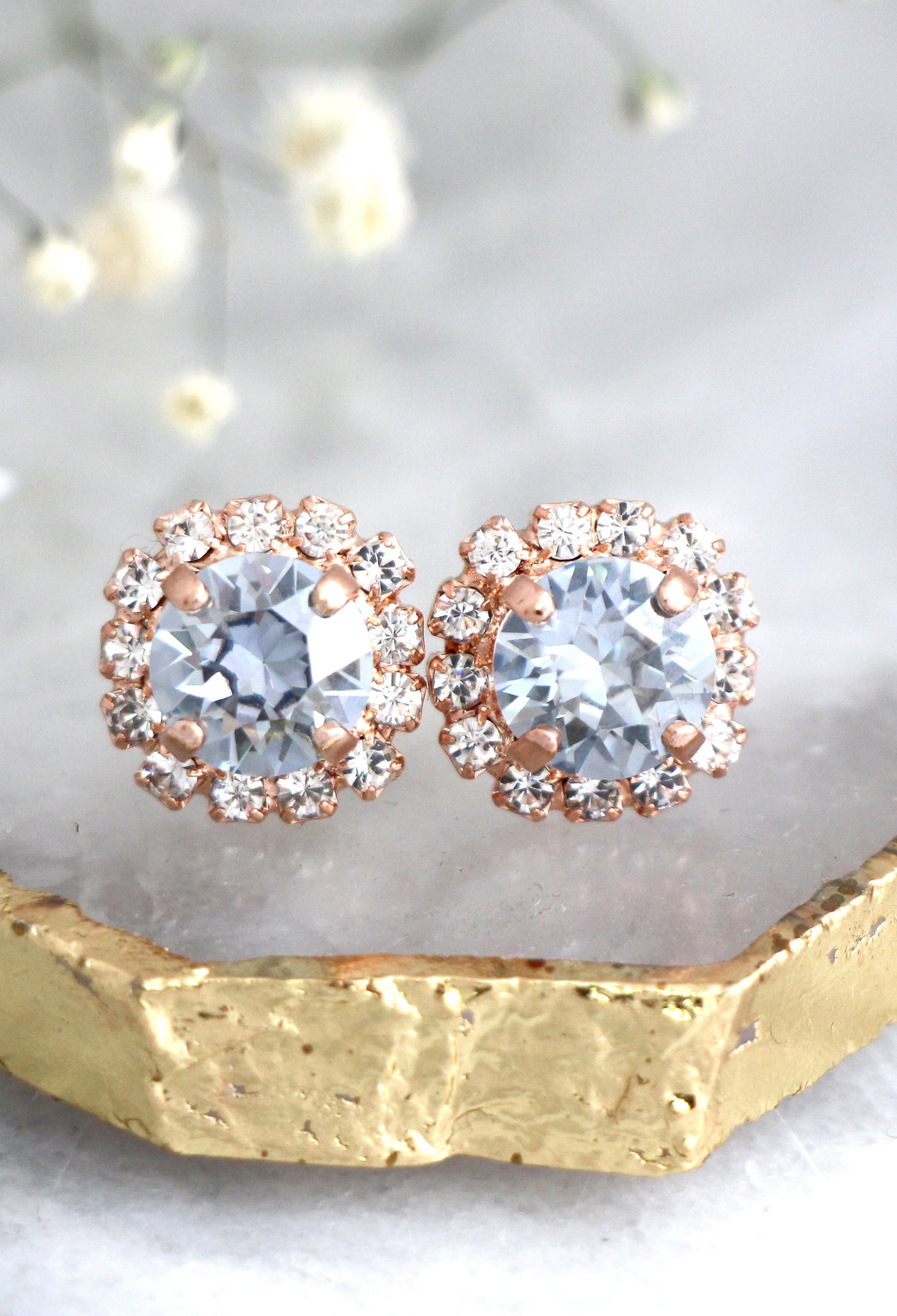 Jenny Dusty Blue Crystal Swarovski Stud Earrings