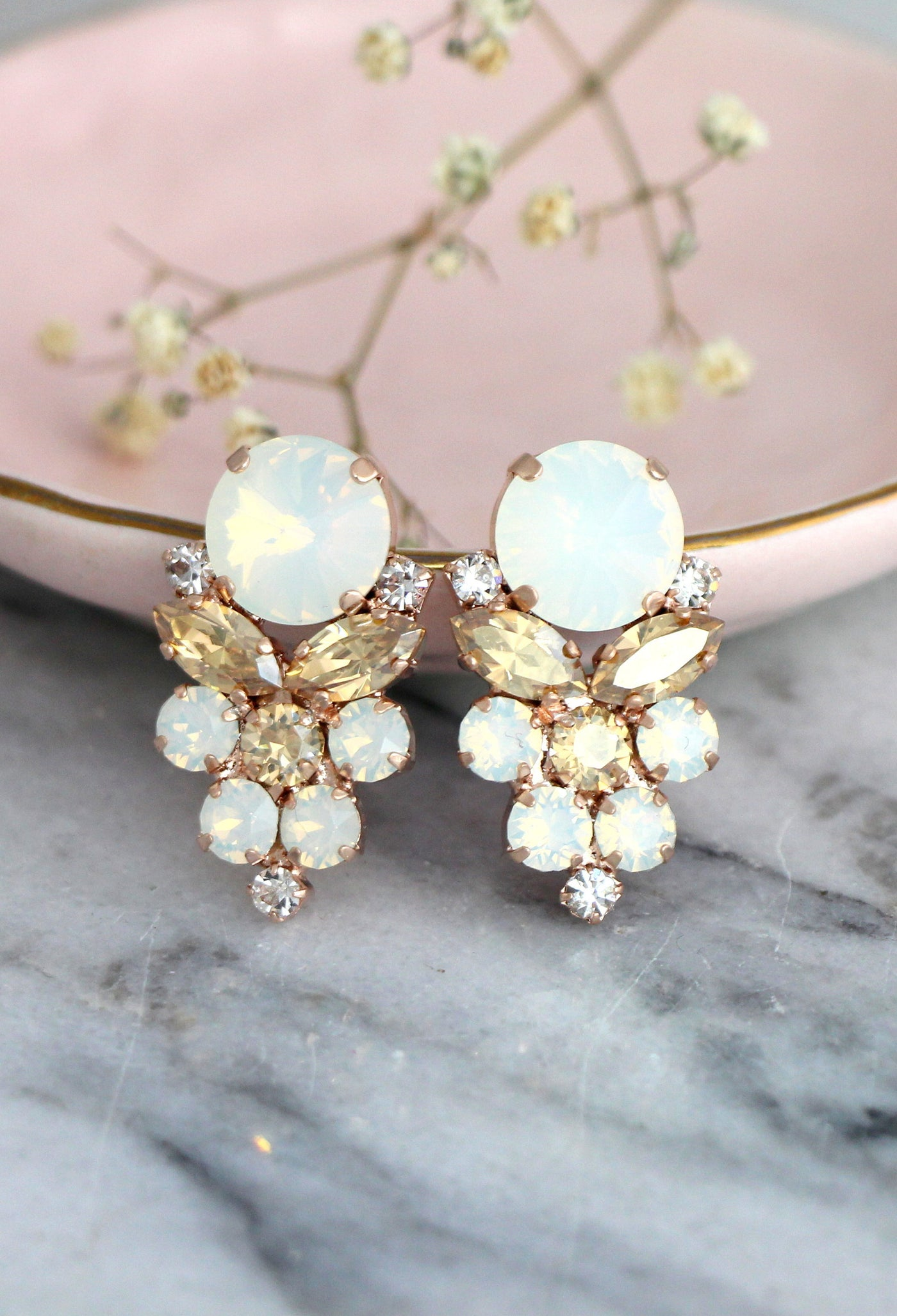 Noy White Opal Champagne Crystal Swarovski Cluster Earrings