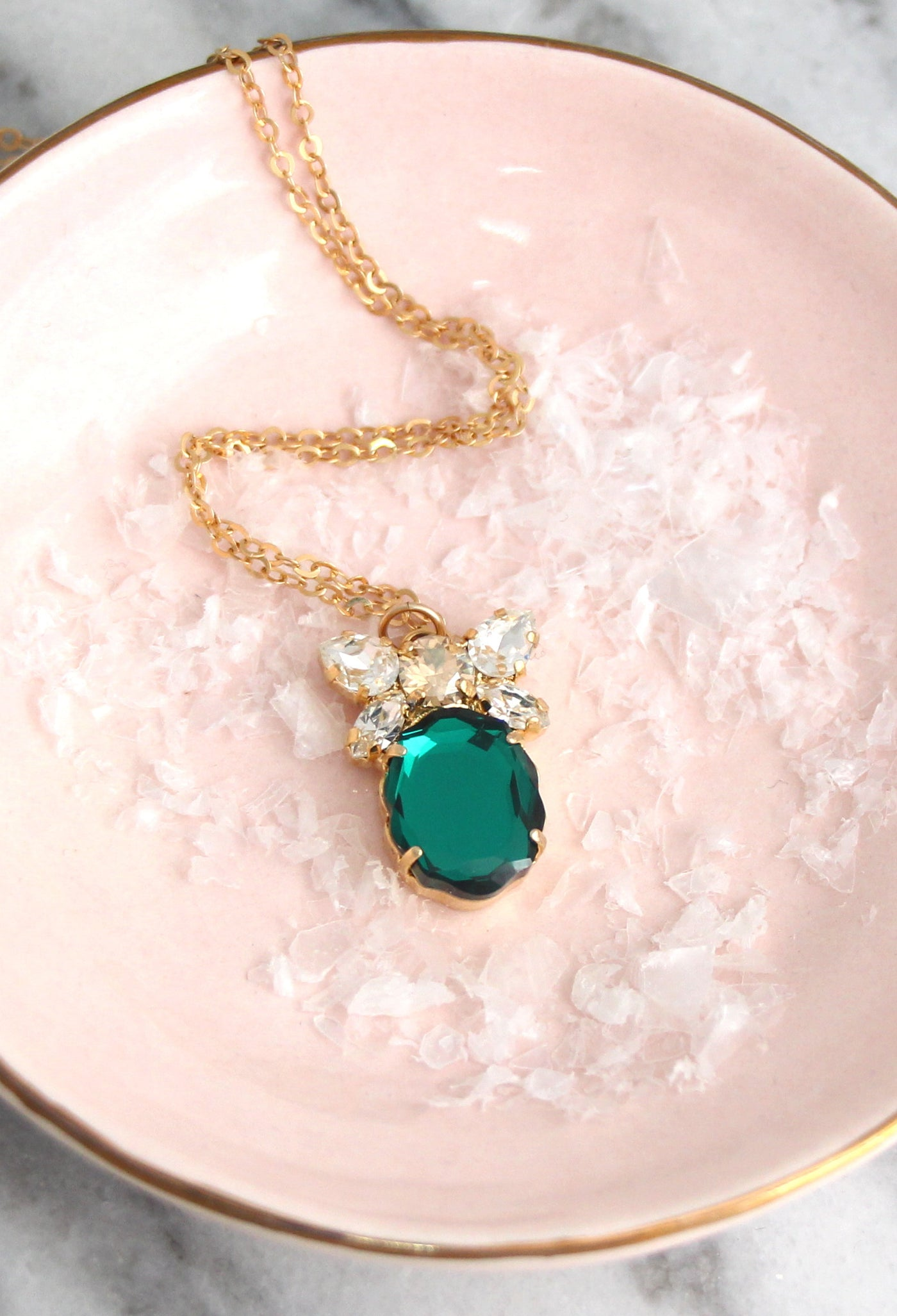 Baroque Necklace Emerald Crystal Swarovski