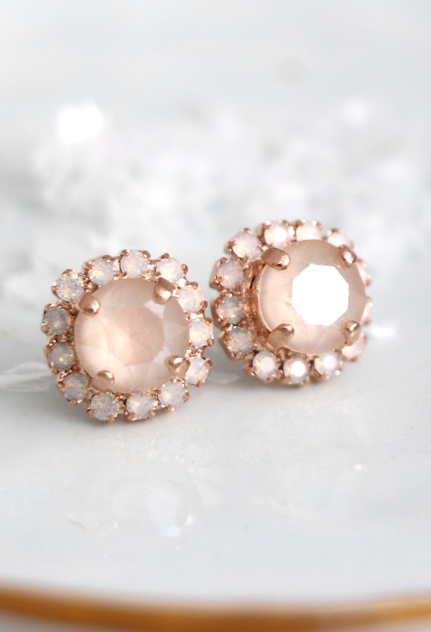 Jenny Ivory Cream Crystal Swarovski Stud Earrings