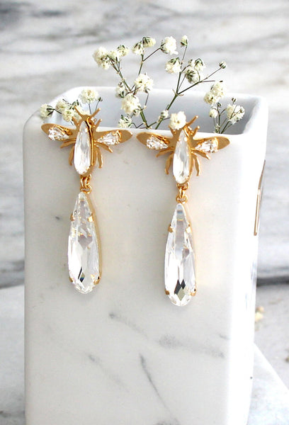Renne Clear Crystal Swarovski Chandelier Earrings