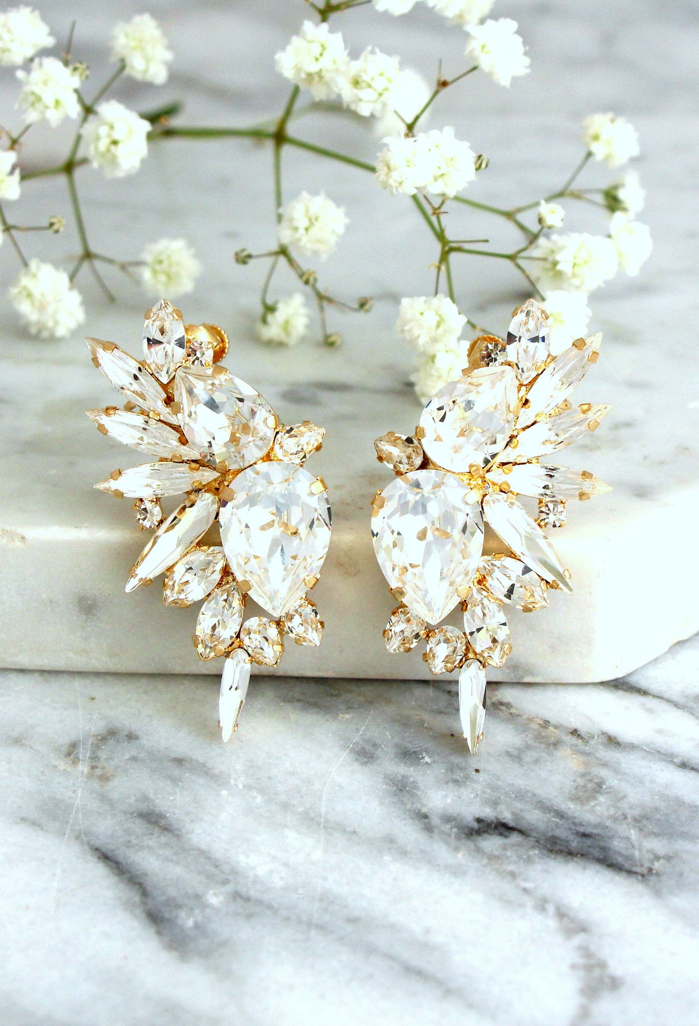 Andrea Clear Crystal Swarovski Bridal Statement Climbing Earrings
