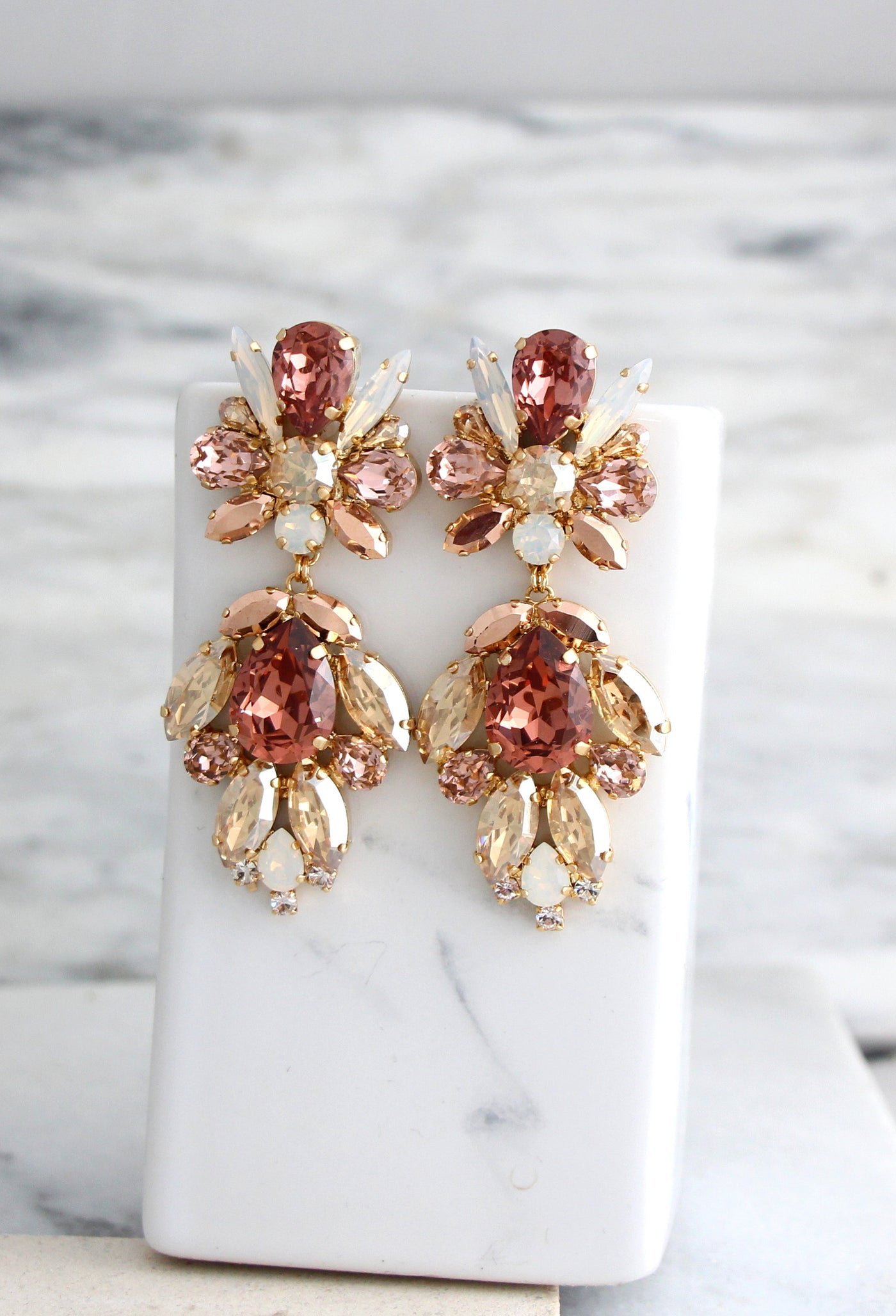 Collete Blush Rose Gold Crystal Swarovski Chandelier Earrings