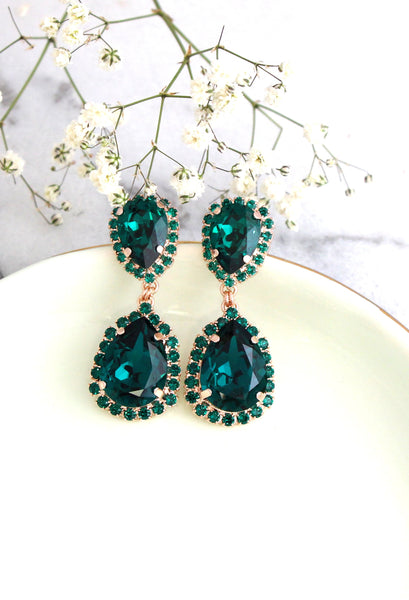 Emma Emerald Crystal Swarovski Chandelier Earrings