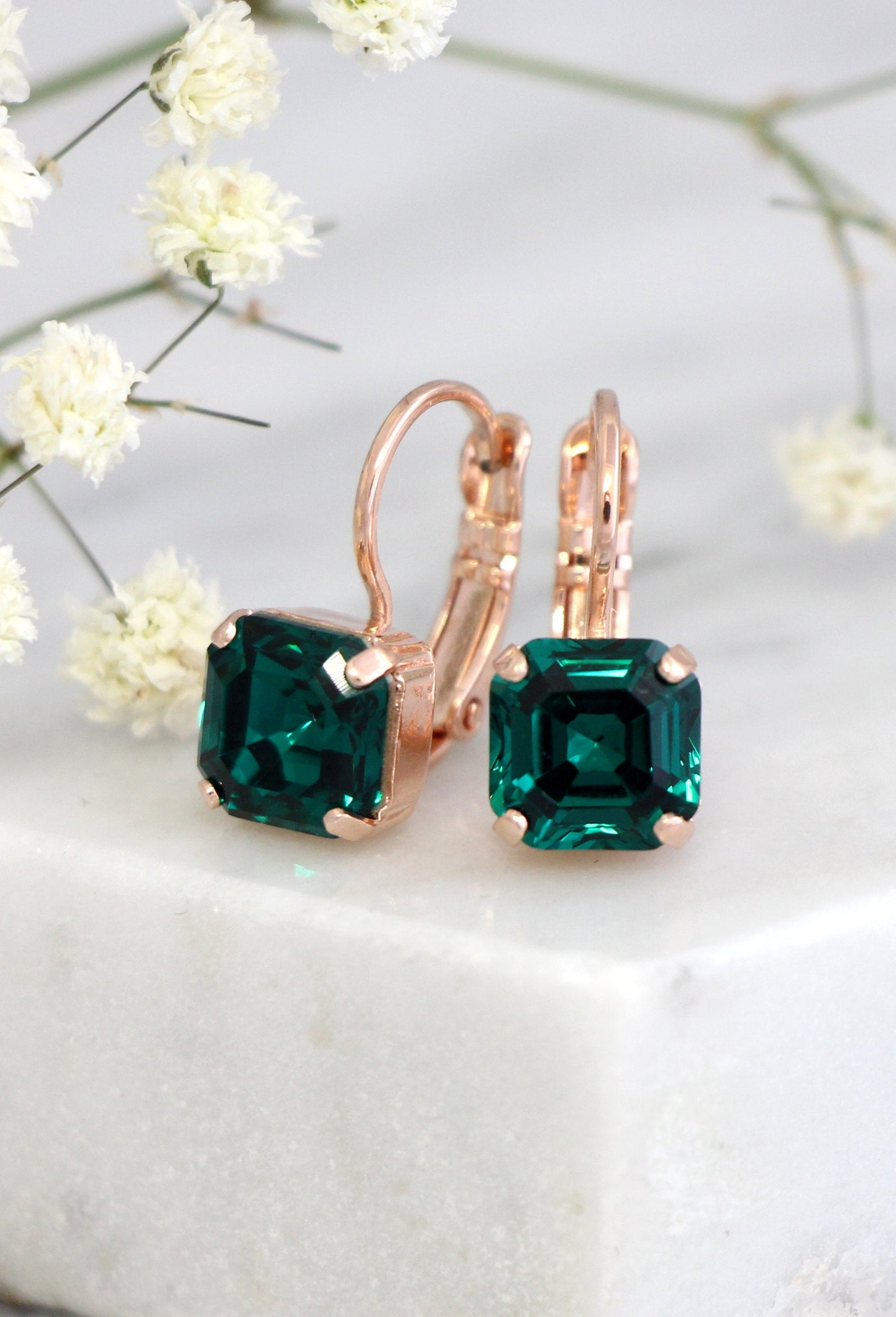 Princess Emerald Crystal Swarovski Dangle Drop Earrings