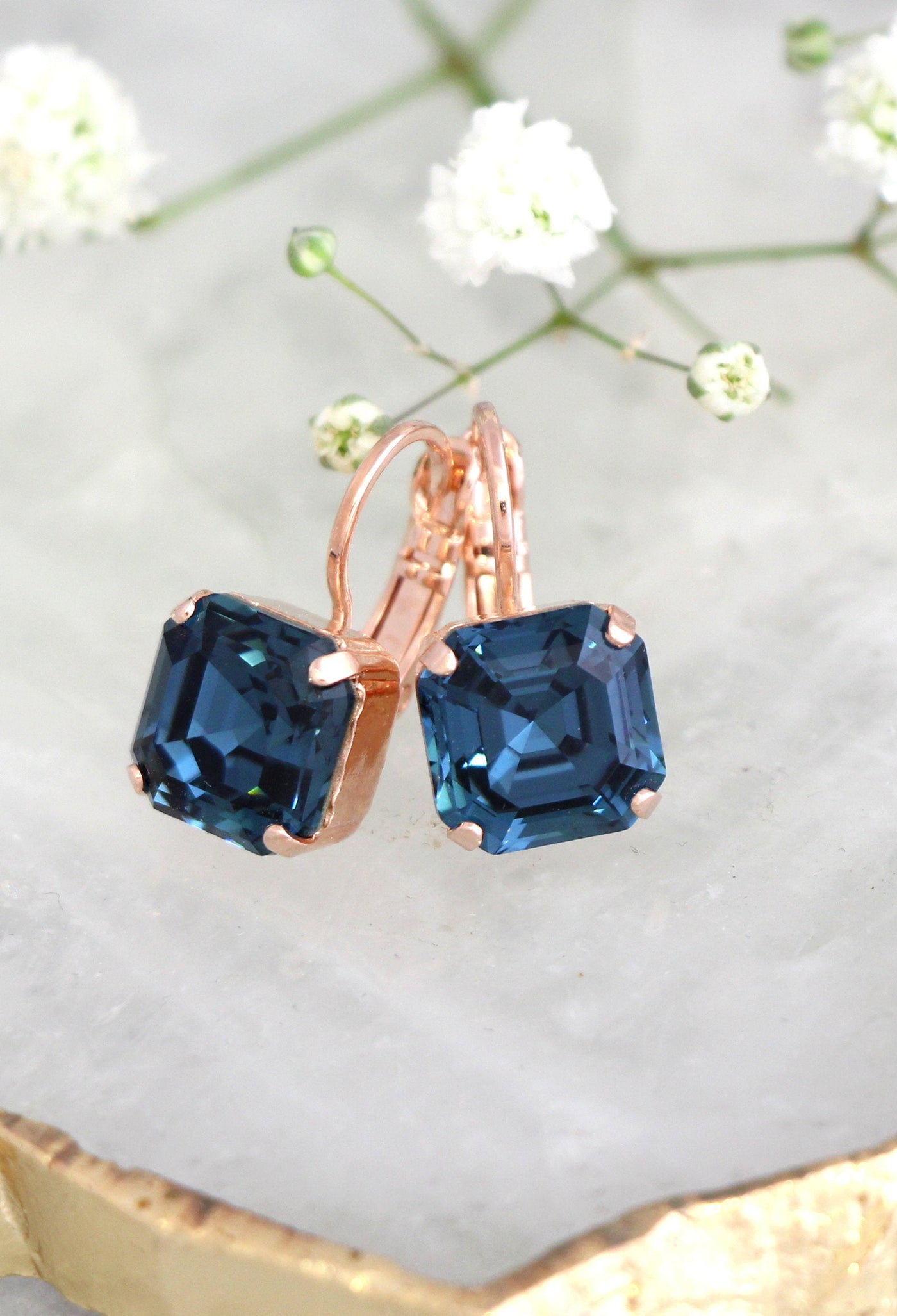 Blue Navy Crystal Drop Earrings, Princess Cut Navy Blue Bridal Droplet Earrings, Blue Swarovski Earrings Drop Earrings, Bridesmaids Earrings