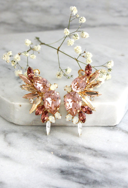 Andrea Blush Pink Crystal Swarovski Statement Climbing Earrings