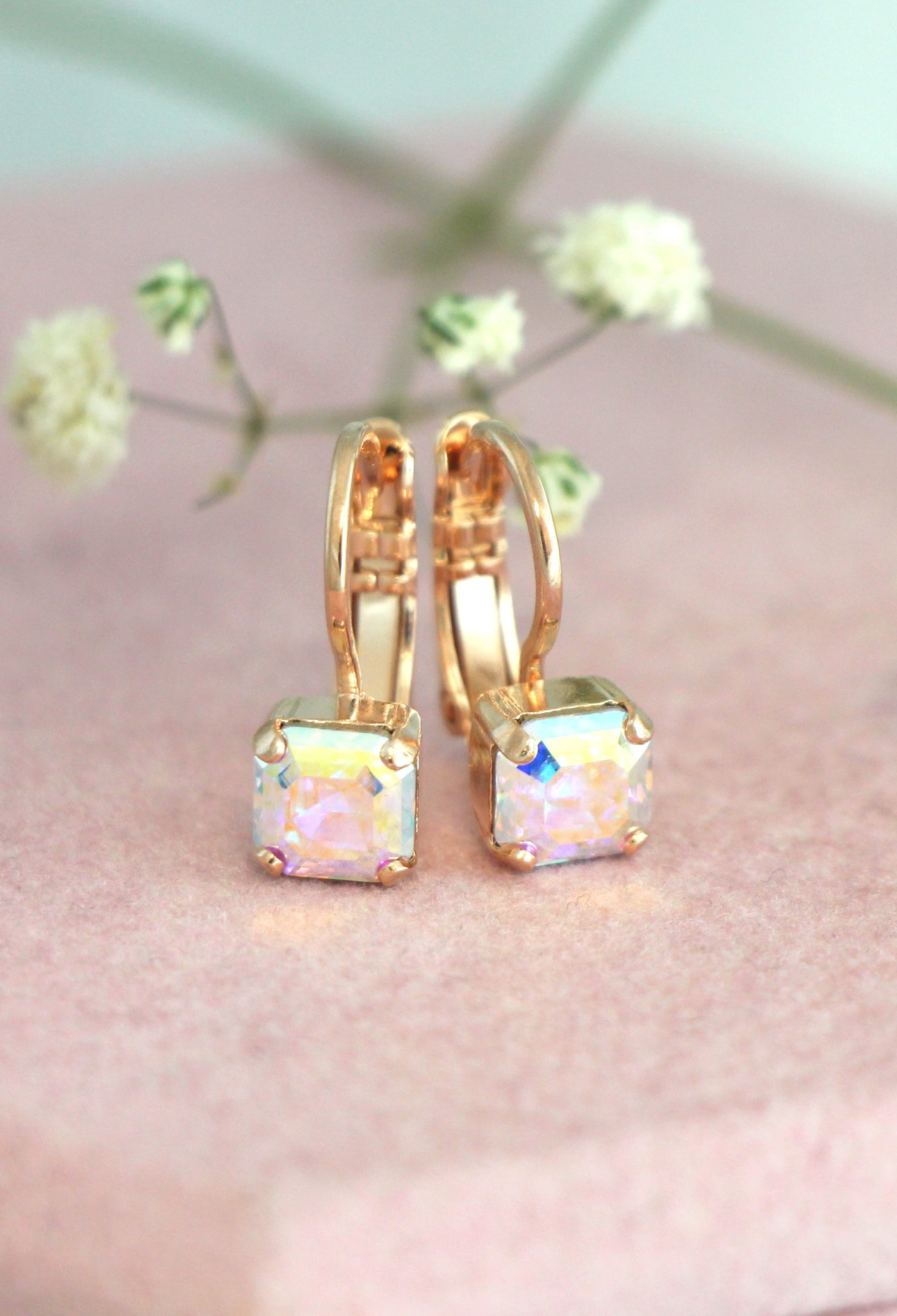 Princess Holographic Crystal Swarovski Dangle Drop Earrings