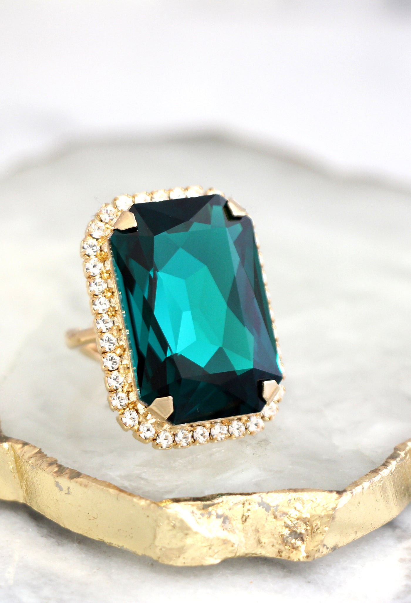 Ada Fancy Emerald Crystal Swarovski Big Cocktail Ring