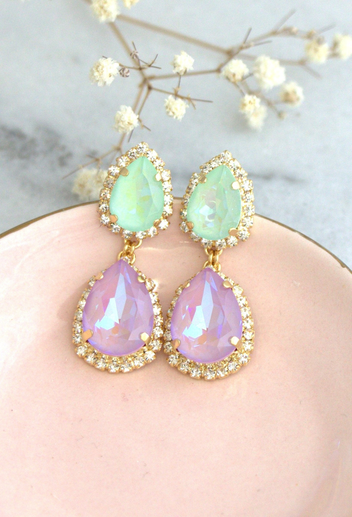 Emma Lavender Mint Crystal Swarovski Chandelier Earrings