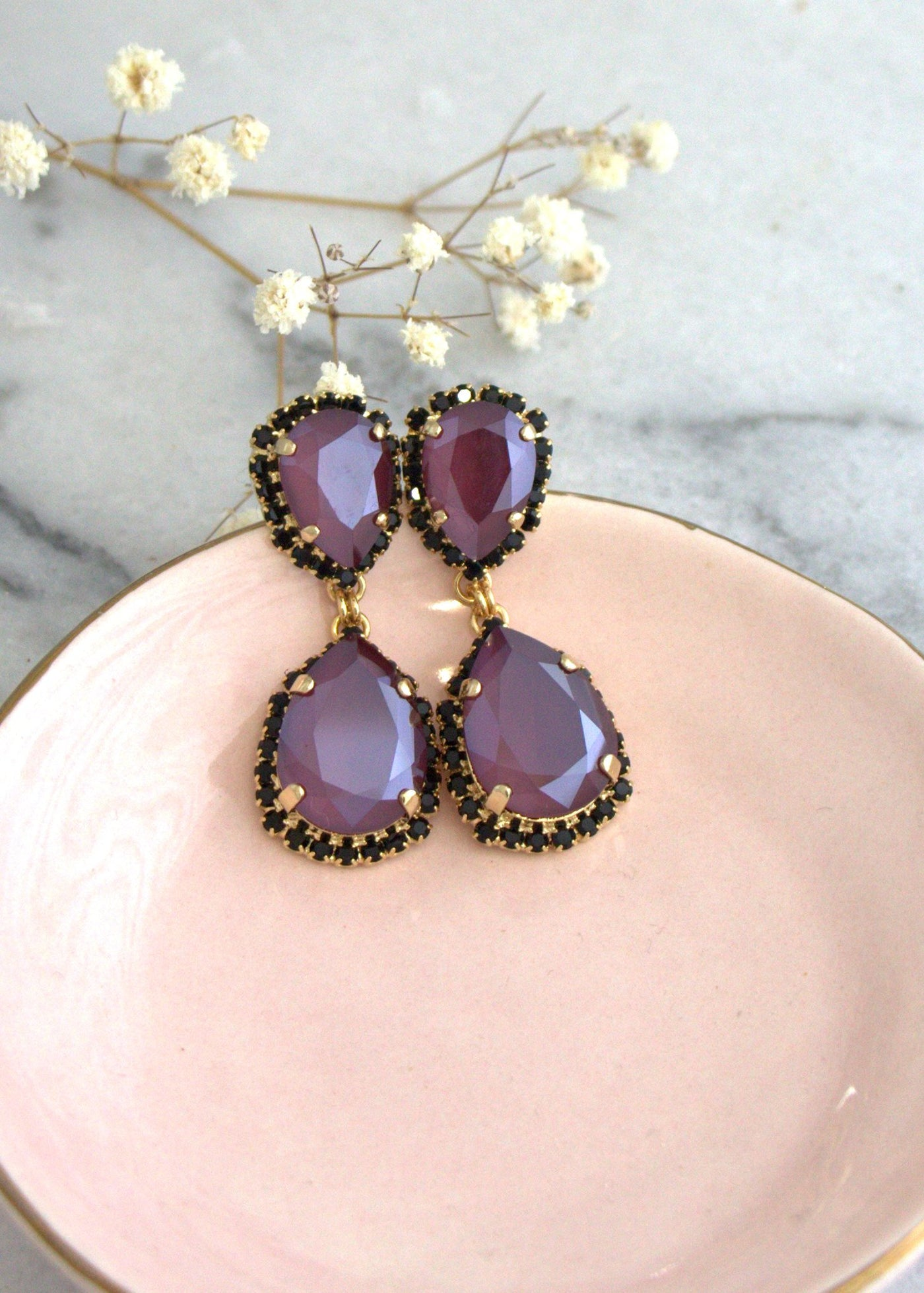 Emma Dark Red Crystal Swarovski Chandelier Earrings