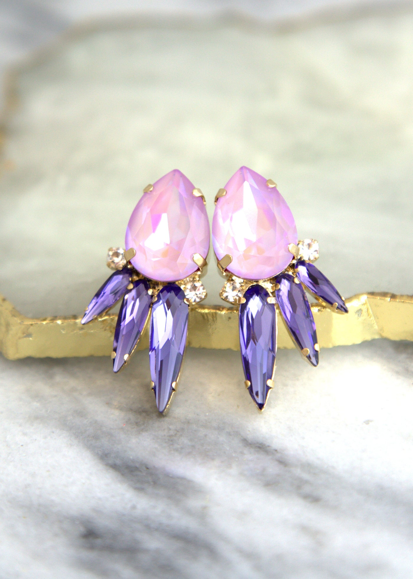 Alex Lilac Purple RocknRoll Crystal Swarovski Cluster Earrings