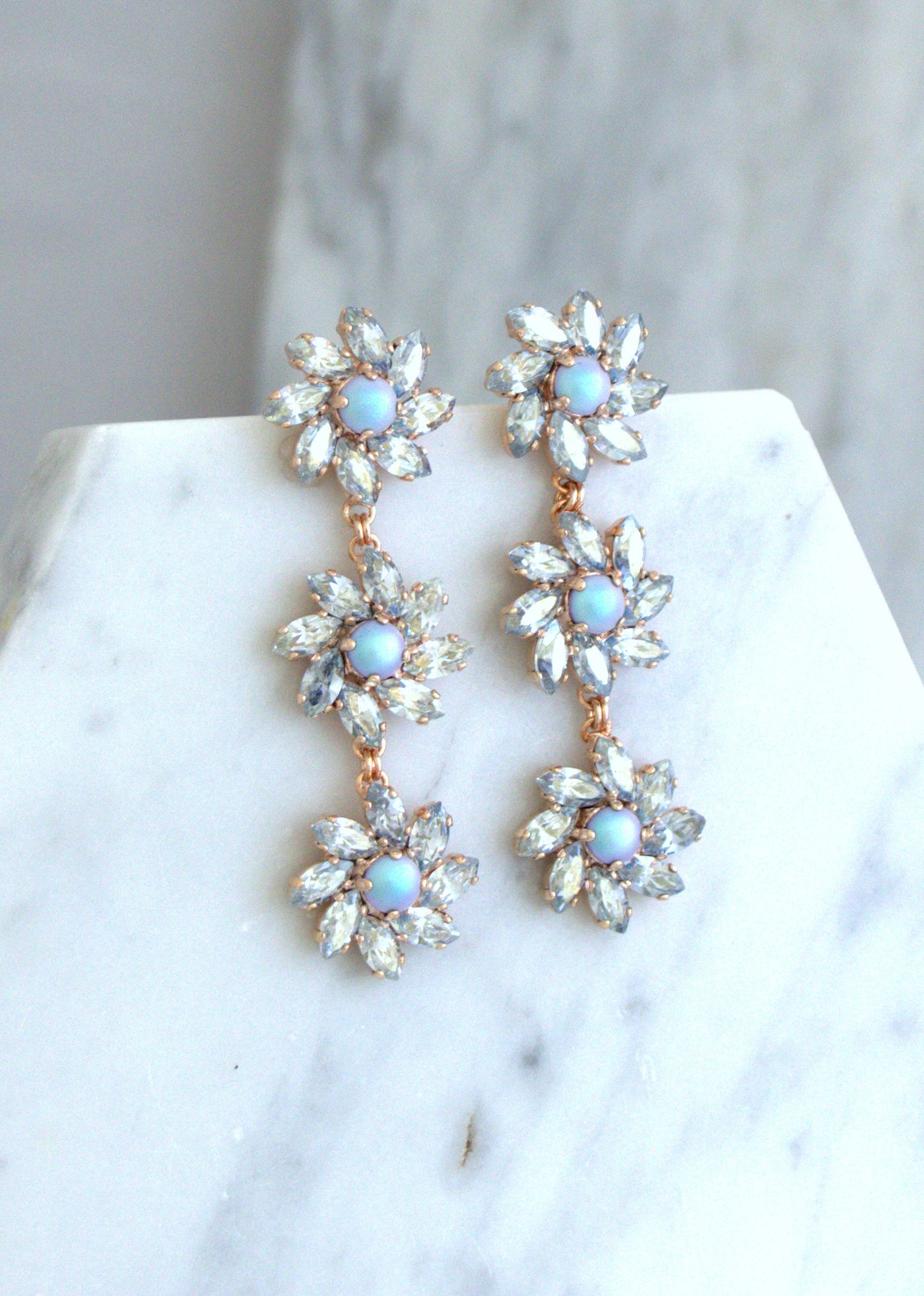 Eve Dusty Blue Pearl Crystal Swarovski Long Chandelier Earrings