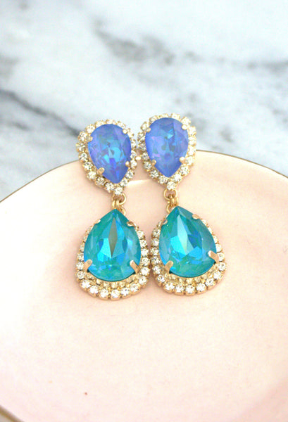 Emma  Blue Lagoon Ocean Blue Crystal Swarovski Chandelier Earrings
