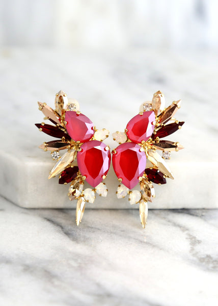 Andrea Red Ruby Crystal Swarovski Statement Climbing Earrings