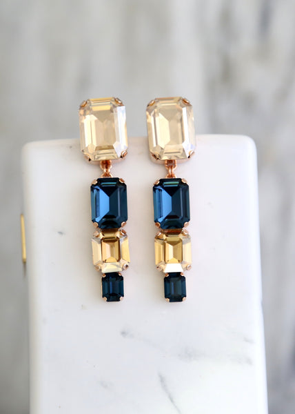 Margot Blue Navy Champagne Crystal Swarovski Chandelier Earrings